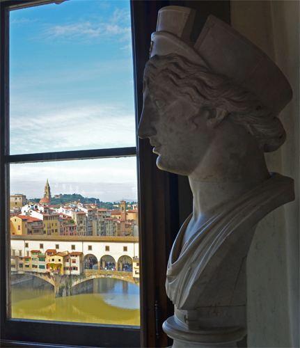 Marble Bust and View of Ponte Vecchio, Uffizi Gallery, Florence